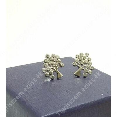 Ezüst fülbevaló,fa cirkónia kővel