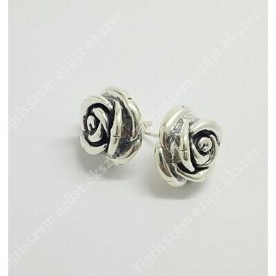 Ezüst fülbevaló,nagy rózsa,stekkeres