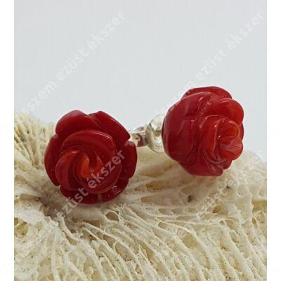 Ezüst rózsa fülsróf,vörös korall