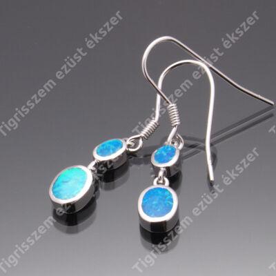Ezüst fülbevaló opál,kék