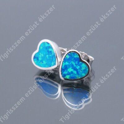 Ezüst fülsróf nagy szív,kék