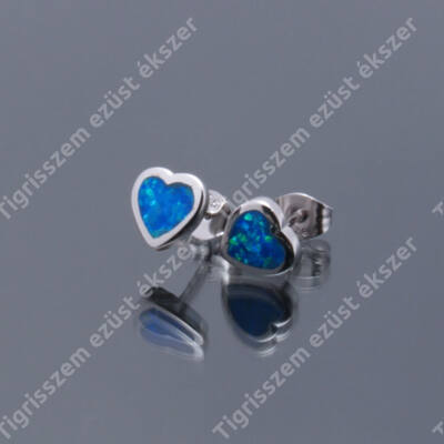 Ezüst kék opál fülsróf,kicsi szív