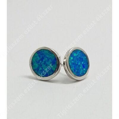 Ezüst fülsróf kerek,kék színű opállal