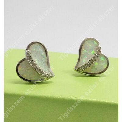 Ezüst fülsróf szív,fehér opállal