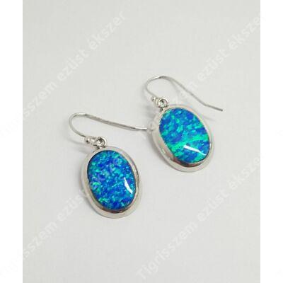 Ezüst fülbevaló kék opállal