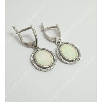 Ezüst fülbevaló fehér opállal+cirkónia
