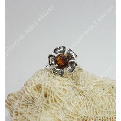 """Ezüst gyűrű BOROSTYÁN kővel """"58""""-as,virág"""