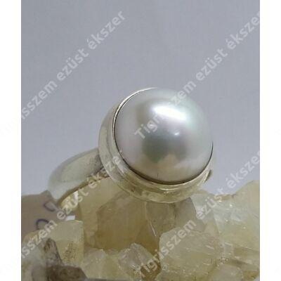 Ezüst gyűrű édesvízi tenyészetett gyönggyel 60-as