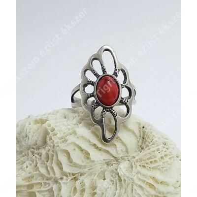 Ezüst gyűrű korall 54-es