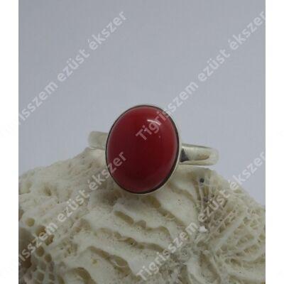 Ezüst  gyűrű KORALL ovális kő,55-ös