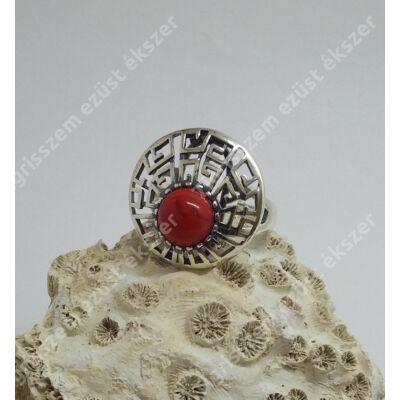 Ezüst +korall gyűrű kerek 57-es