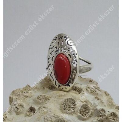 Ezüst +korall gyűrű ovális 59-es