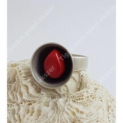 Ezüst gyűrű korall,kézzel készült