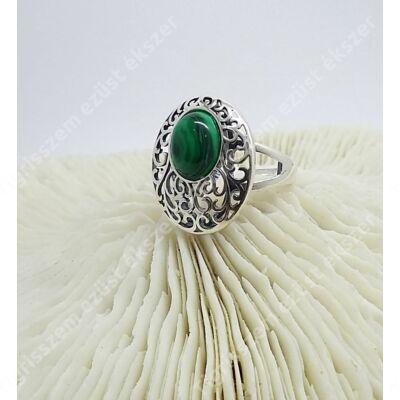 Ezüst+malachit gyűrű 58-as
