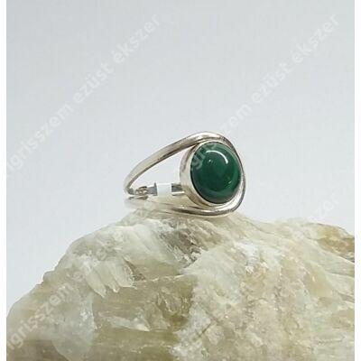 Ezüst gyűrű malachit kővel 56-os