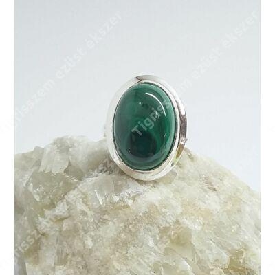 Ezüst gyűrű malachit kővel,nagy ovális 59-es