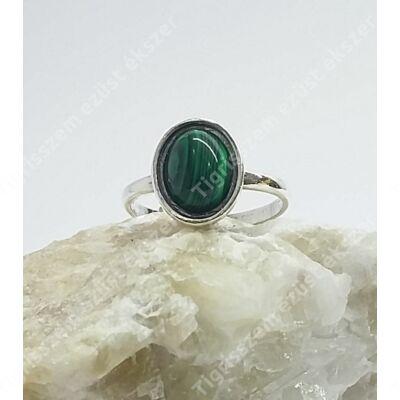 Ezüst gyűrű malachit kővel 54-es
