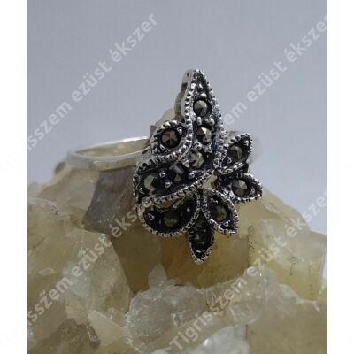 Ezüst gyűrű markazit köves,virág  57-es