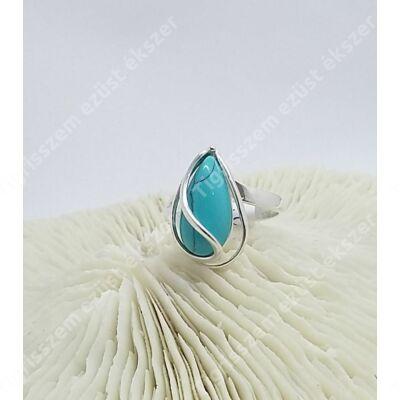 Ezüst+türkiz gyűrű 60-as