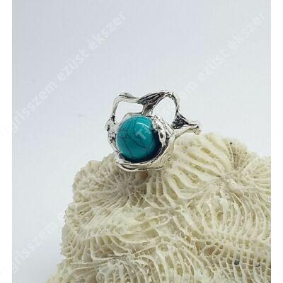 Ezüst  női gyűrű türkizzel 57-es