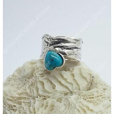 Ezüst  női gyűrű türkizzel 54-es