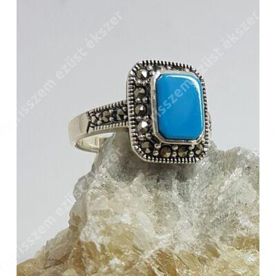 Ezüst türkiz  gyűrű,szögletes  55-ös