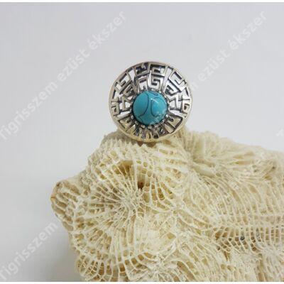 Ezüst gyűrű türkiz kerek,áttört  56-os
