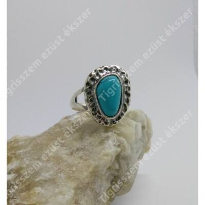 Ezüst gyűrű TÜRKIZ kővel 55-ös