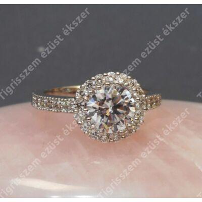 Ezüst gyűrű,női, fehér cirkóniával és tenyésztett gyöngy  53-as