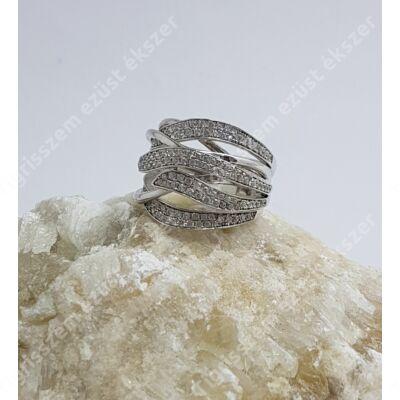 Ezüst gyűrű  fehér cirkóniával,4 soros