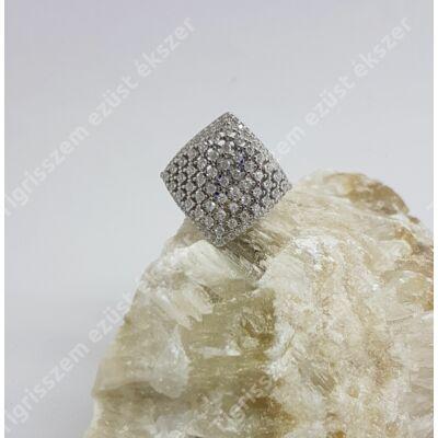 Ezüst gyűrű  fehér cirkóniával,szögletes