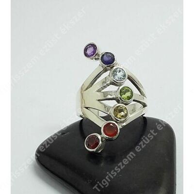 Ezüst csakra gyűrű,legyező 58-as