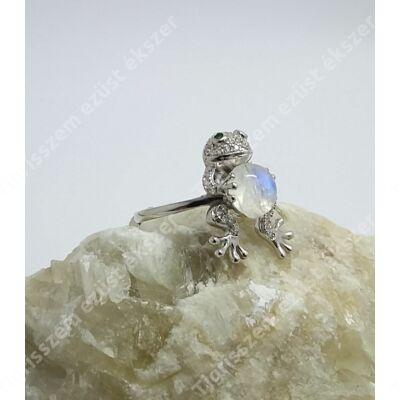 Ezüst gyűrű holdkő,béka 55-ös