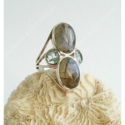 Ezüst gyűrű LABRADORIT és KÉK TOPÁZ kővel 60-as