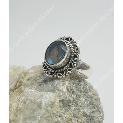Ezüst labradorit  gyűrű 55-ös