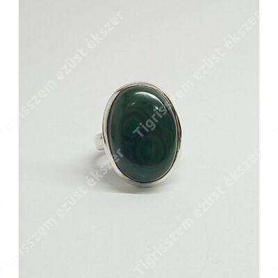 Ezüst gyűrű malachit kővel 58-as