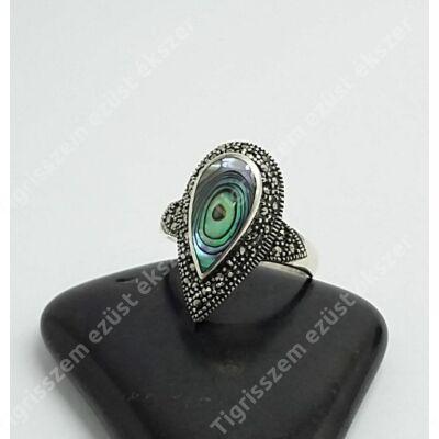 Ezüst gyűrű páva kagyló+markazit 57-es