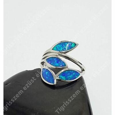 Ezüst gyűrű leveles,kék opállal 52-es