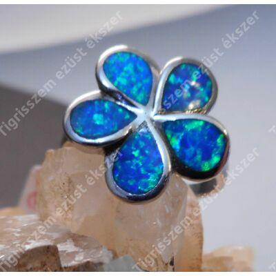 """Ezüst kék OPÁL gyűrű 55-ös """"nagyvirág"""""""