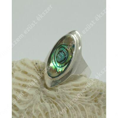 Ezüst gyűrű páva kagylóval 56-os