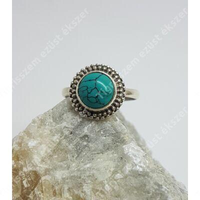 Ezüst türkiz  gyűrű,kerek  50-es