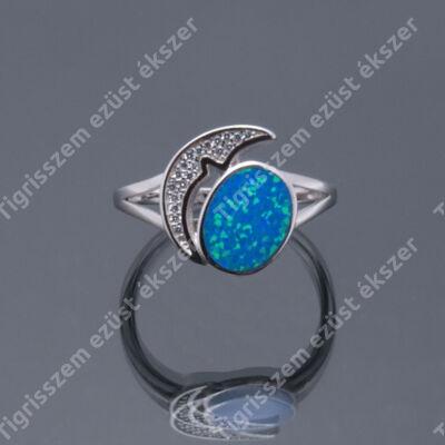 Ezüst gyűrű opállal és cirkóniával,hold 59-es