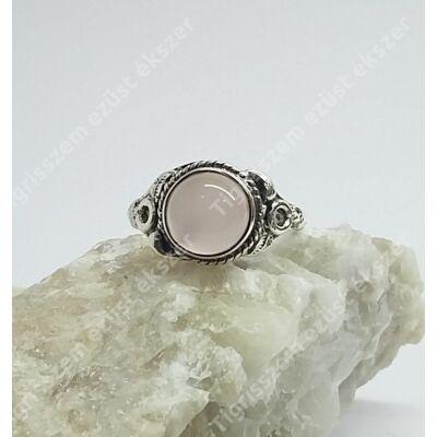 Ezüst gyűrű RÓZSAKVARC  kővel 52-es