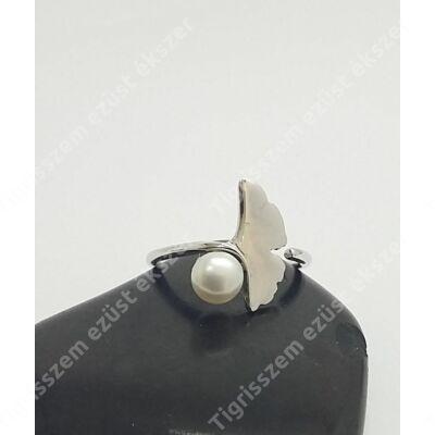 Ezüst gyűrű,biloba+ gyöngy 54-es