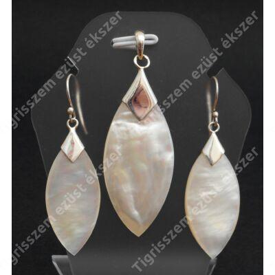 Ezüst fülbevaló+medál  szett gyöngyházzal csüngős,navett