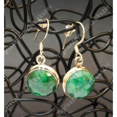 Ezüst fülbevaló smaragd köves kerek csüngős forma