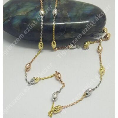 Ezüst,aranyozott gönbös lánc 50 cm