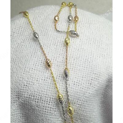 Ezüst,aranyozott gönbös lánc 45 cm