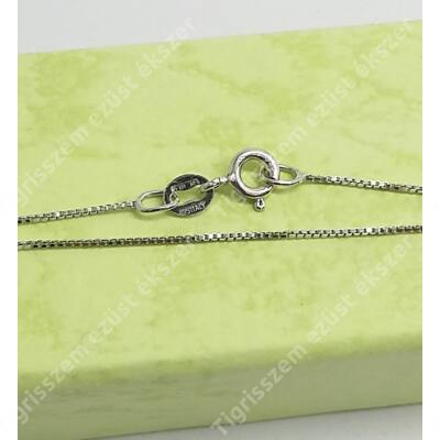 Ezüst lánc,vékony kocka,ródiumos 46 cm