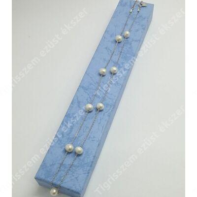 Ezüst lánc édesvízi tenyésztett gyöngyökkel